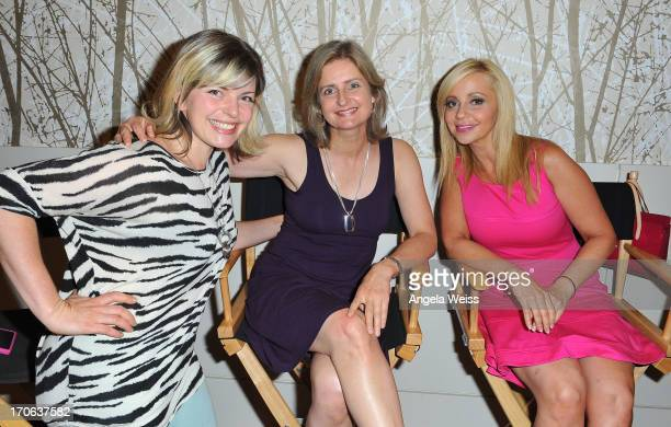 Rebecca Shoichet Cathy Weseluck and Tara Strong attend Hasbro Studios' My Little Pony Equestria Girls Press Junket at JW Marriott Los Angeles LA Live...