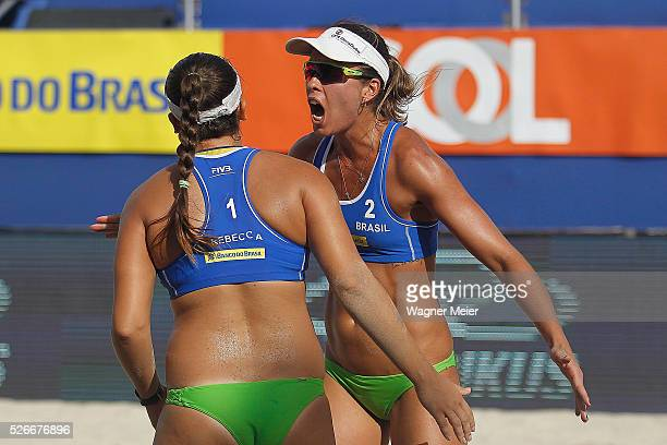 Rebecca Silva and Liliane Maestrini of Brazil in action during main draw match against Brazil during the FIVB Fortaleza Open on Futuro Beach on April...