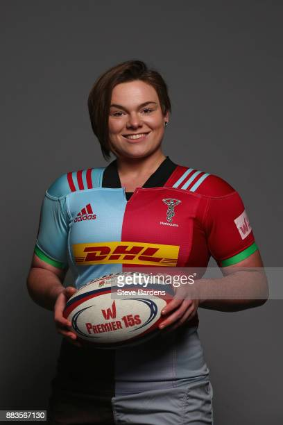 Rebecca Smith poses for a portrait during the Harlequins Ladies Squad Photo call for the 2017/18 Tyrrells Premier 15s Season at Surrey Sports Park on...