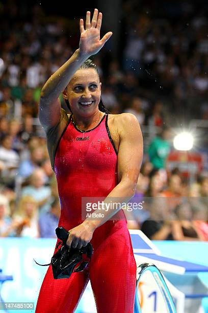 Rebecca Soni celebrates after she competed in the Championship final of the Women's 200 m Breaststroke during Day Six of the 2012 US Olympic Swimming...