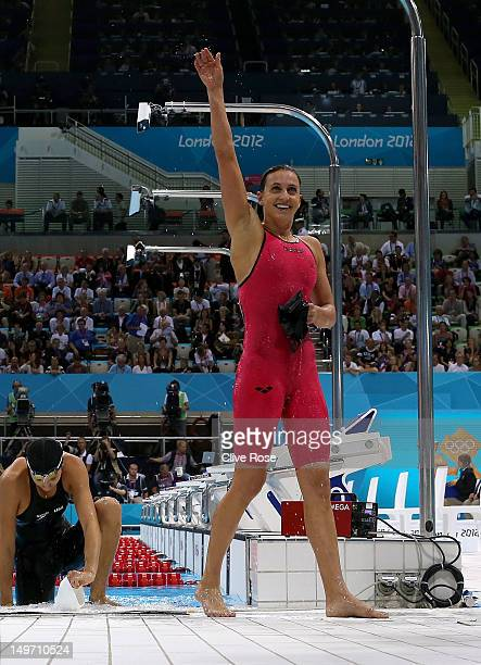 Rebecca Soni of the United States celebrates after winning gold and setting a new world record time of 21959 in the Women's 200m Breaststroke Final...
