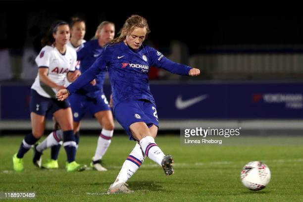 Rebecca Spencer of Chelsea Women scores her teams second goal from the penalty spot during the FA Women's Continental League Cup game between Chelsea...