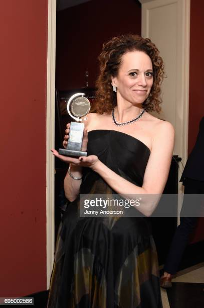 "Rebecca Taichman winner of the award for Best Direction of a Play for ""Indecent"" poses in the press room during the 2017 Tony Awards at 3 West Club..."