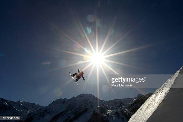Rebecca Torr of New Zealand competes in the Women's Slopestyle Qualification during the Sochi 2014 Winter Olympics at Rosa Khutor Extreme Park on...