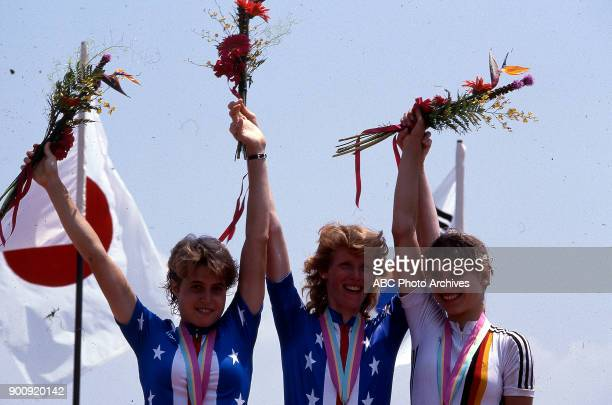Rebecca Twigg Connie Carpenter Sandra Schumacher Women's road cycling medal ceremony at the 1984 Summer Olympics July 29 1984