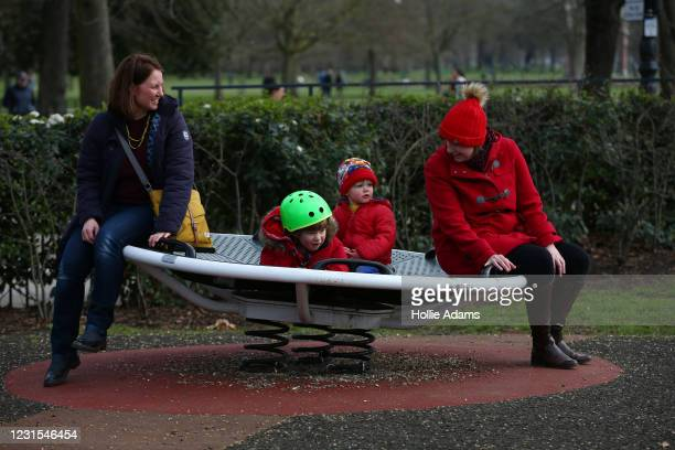Rebecca Varrall, Sam Jackson Caleb Ruddock and Nikki Dudley at the Victoria Park playground on March 6, 2021 in London, England. Sam will be starting...