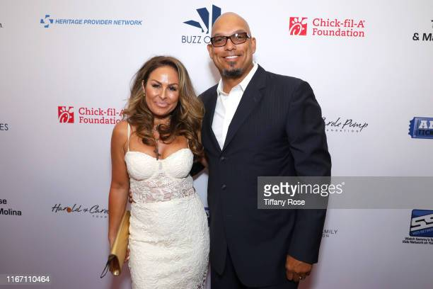 Rebecca Villalobos and David Justice attend the 19th Annual Harold and Carole Pump Foundation Gala at The Beverly Hilton Hotel on August 09 2019 in...