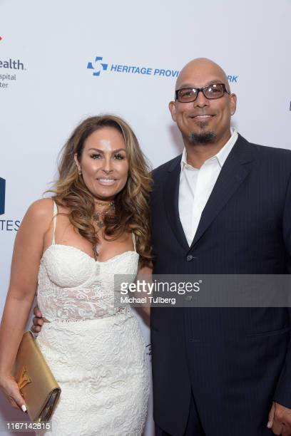 Rebecca Villalobos and former MLB great David Justice attend the 19th annual Harold and Carole Pump Foundation Gala at The Beverly Hilton Hotel on...
