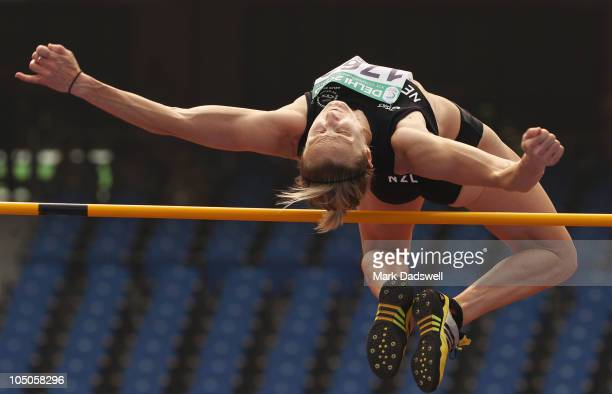 Rebecca Wardell of New Zealand competes in the high jump in the women's heptathlon during day five of the Delhi 2010 Commonwealth Games at the...