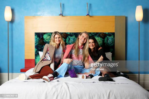 Rebecca Wilson,Christian Wilkins and Michelle Burke pose inside The Medusa Hotel during a luncheon on May 29, 2020 in Sydney, Australia.