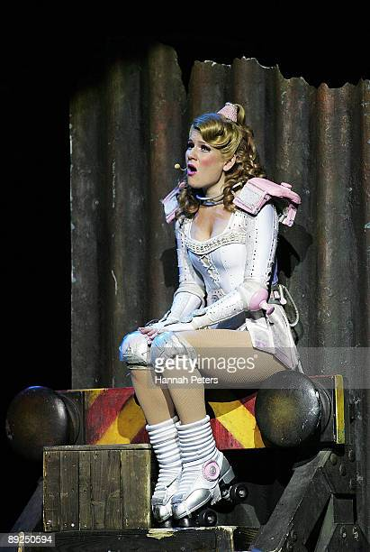 Rebecca Wright who plays the character 'Pearl' in 'Starlight Express' appears on stage during the show's Auckland opening night at Vector Arena on...