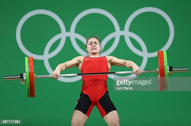 Rebeka Koha of Latvia competes during the Women's 53kg Group A weightlifting contest on Day 2 of the Rio 2016 Olympic Games at Riocentro Pavilion 2...