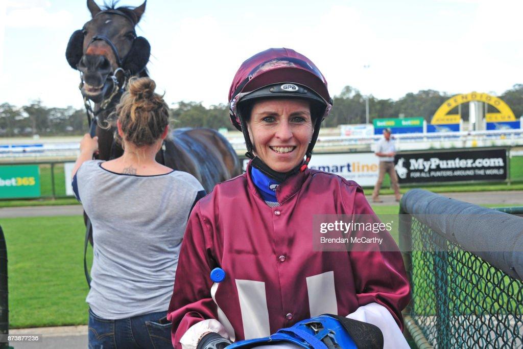 Rebeka Prest after winning the Roll the Dice BM64 Handicap at Bendigo Racecourse on November 14, 2017 in Bendigo, Australia.