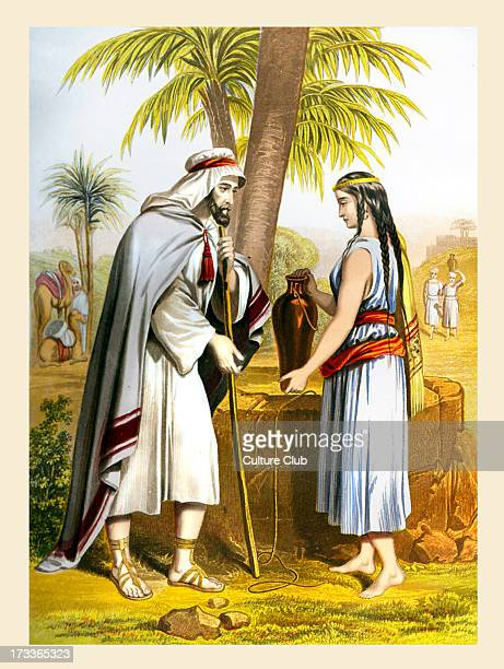 Rebekah and Abraham 's servant Illustration to Book of Genesis 14 15 17 'And it came to pass before he had done speaking that behold Rebekah came out...