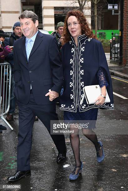 Rebekah Brooks and Charlie Brooks arrive for the wedding of Jerry Hall and Rupert Murdoch at St Brides Church on Fleet Street on March 5 2016 in...