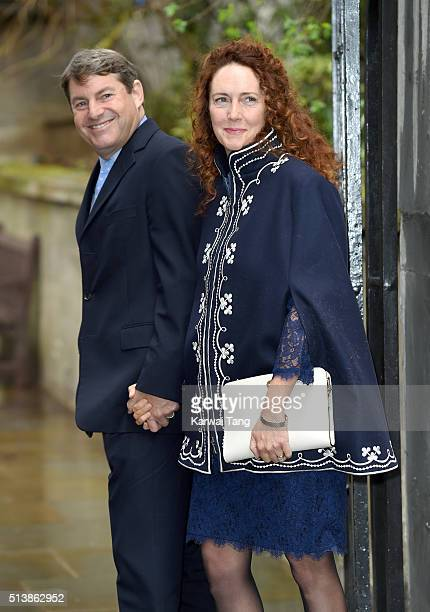 Rebekah Brooks and Charlie Brooks arrive for the wedding of Jerry Hall to Rupert Murdoch at St Brides Church on March 5 2016 in London England