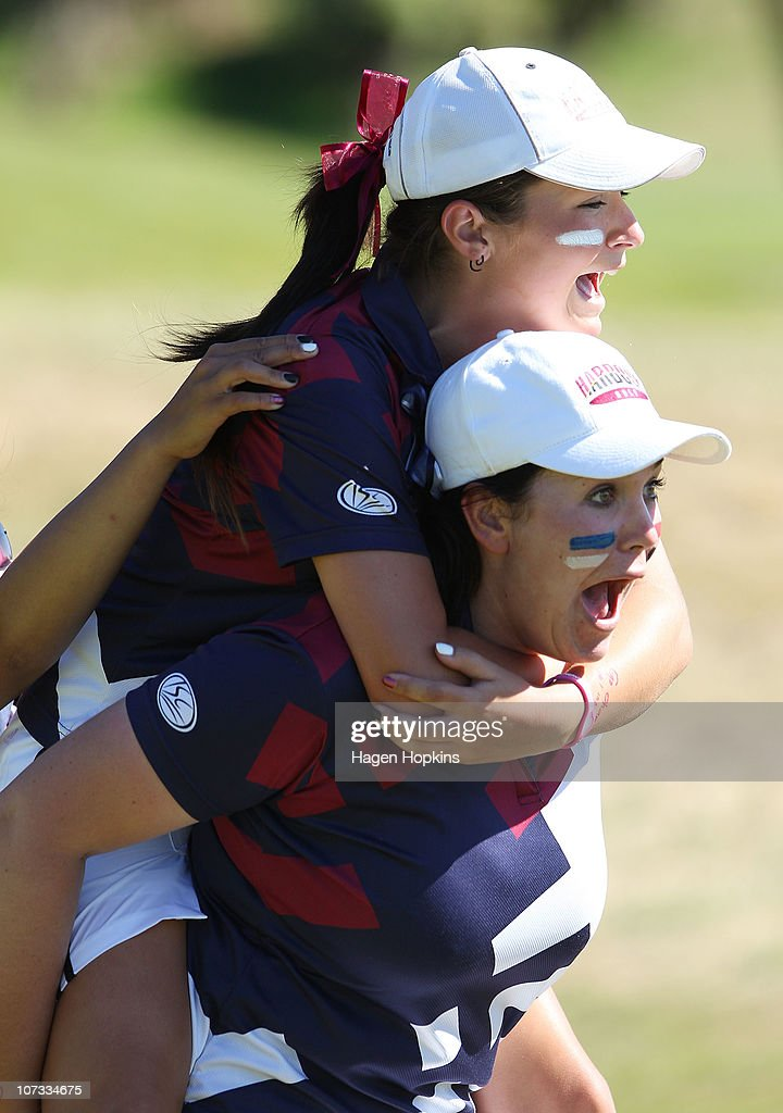 Rebekah Brownlee and Faye Amy Nickson of North Harbour celebrate their finals win at the 17th hole during the final day of the Women's Interprovincial Golf Championship at Miramar Golf Course on December 4, 2010 in Wellington, New Zealand.