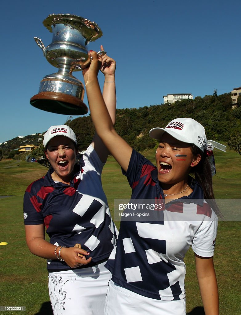 Rebekah Brownlee and Rica Tse of North Harbour celebrate their finals win during the final day of the Women's Interprovincial Golf Championship at Miramar Golf Course on December 4, 2010 in Wellington, New Zealand.