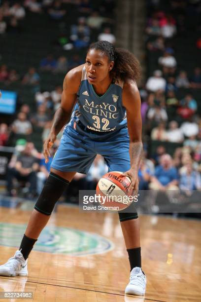 Rebekah Brunson of the Minnesota Lynx handles the ball against the New York Liberty on July 25 2017 at Target Center in Minneapolis Minnesota NOTE TO...