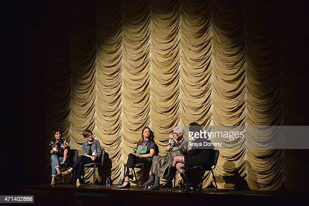 """Rebekah Maysles, Laura Coxson, Jennifer Ash Rudick, Iris Apfel and Madeleine Brand attend the Film Independent at LACMA Screening and Q&A of """"Iris""""..."""
