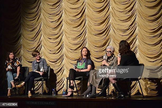 Rebekah Maysles Laura Coxson Jennifer Ash Rudick Iris Apfel and Madeleine Brand attend the Film Independent at LACMA Screening and QA of Iris at Bing...