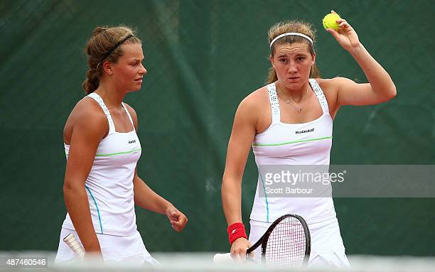 Rebekah O'Loughlin and Joely Lomas of Wales talk tactics as they play against Simoana Reupena and Lyla Tapusoa of Samoa in the Girls Doubles Tennis...