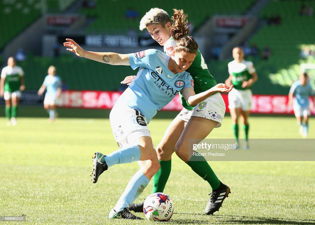 Rebekah Stott of Melbourne City contests the ball during the round seven W-League match between Melbourne City and Canberra United at AAMI Park on December 10, 2017 in Melbourne, Australia.