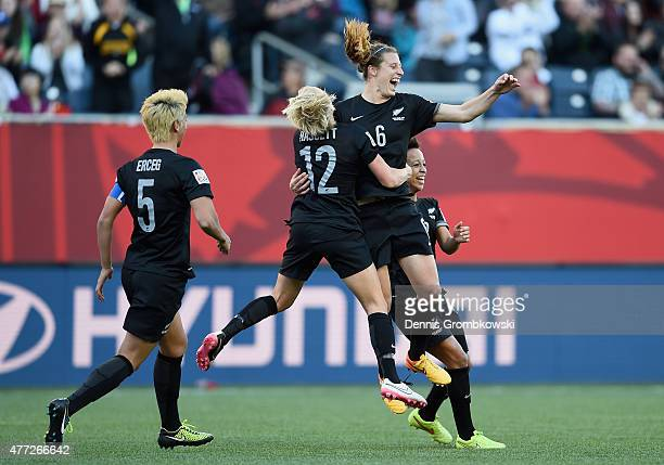 Rebekah Stott of New Zealand celebrates as she scores the opening goal during the FIFA Women's World Cup Canada 2015 Group A match between China PR...