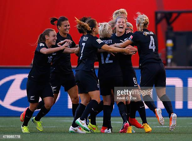 Rebekah Stott of New Zealand celebrates scoring the first goal against China PR during the FIFA Women's World Cup Canada 2015 Group A match between...