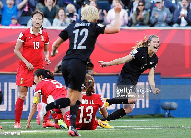 Rebekah Stott of New Zealand celebrates scoring the first goal during the FIFA Women's World Cup 2015 Group A match between China PR and New Zealand...