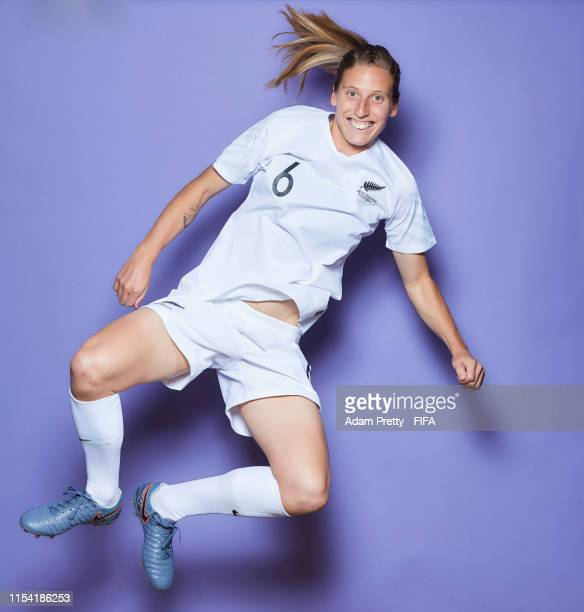 Rebekah Stott of New Zealand poses for a portrait during the official FIFA Women's World Cup 2019 portrait session at Hotel Mercure Le Havre Centre...