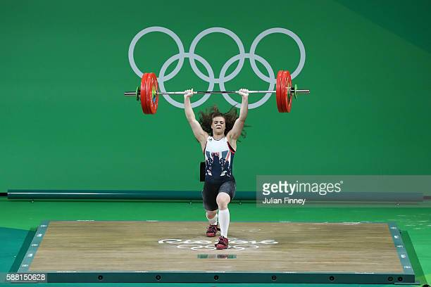 Rebekah Tiler of Great Britain lifts during the Women's 69kg Group B weightlifting contest on Day 5 of the Rio 2016 Olympic Games at Riocentro...