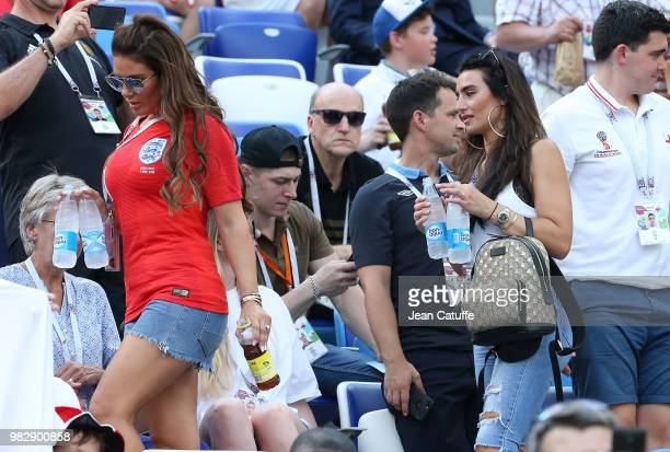 Rebekah Vardy, wife of Jamie Vardy of England, Annie Kilner, girlfriend of Kyle Walker of England attend the 2018 FIFA World Cup Russia group G match...