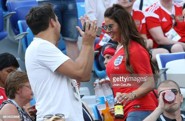 Rebekah Vardy wife of Jamie Vardy of England attends the 2018 FIFA World Cup Russia group G match between England and Panama at Nizhniy Novgorod...
