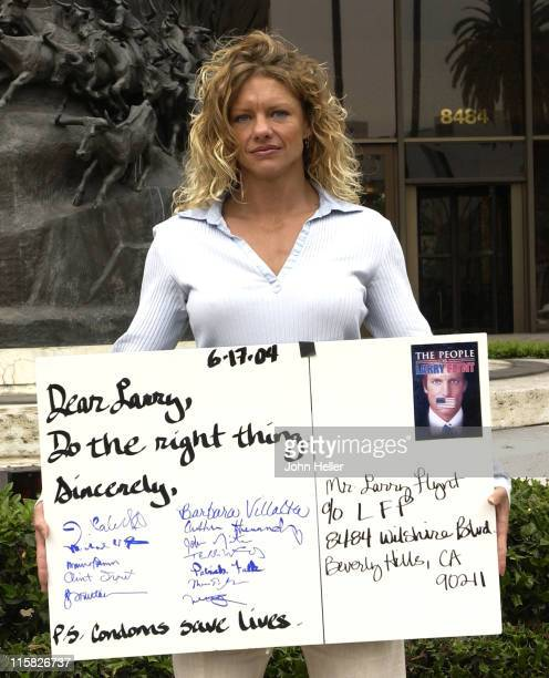 Rebekka Armstrong an AIDS survivor and a former Playboy Playmate of the month and and the Aids Healthcare Foundation protest against Larry Flynt...