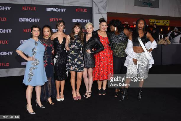 Rebekka Johnson Kia Stevens Brit Baron Jackie Tohn Kimmy Gatewood and Britney Young attend the premiere of Netflix's 'Bright' at Regency Village...