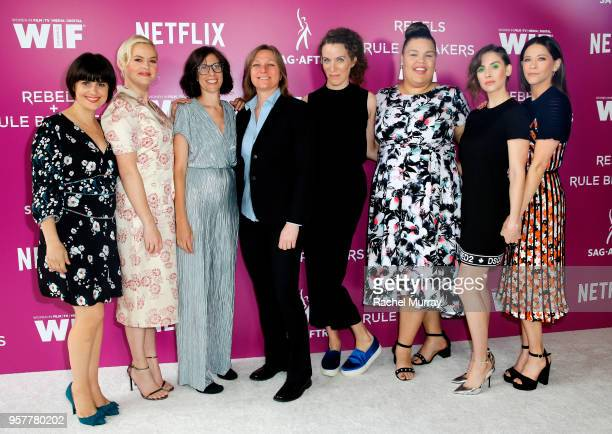 Rebekka Johnson Kimmy Gatewood GLOW Creator Carly Mensch GLOW Creator Liz Flahive Britney Young Alison Brie and Jackie Tohn attend the Rebels and...