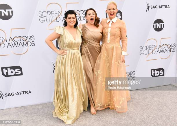 Rebekka Johnson Rachel Bloom and Kimmy Gatewood arrive at the 25th Annual Screen ActorsGuild Awards at The Shrine Auditorium on January 27 2019 in...