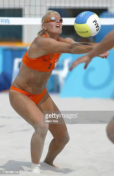 Rebekka Kadijk of the Netherlands in action against the Czech Republic women's beach volleyball team. Netherlands was defeated by the Czech Republic....