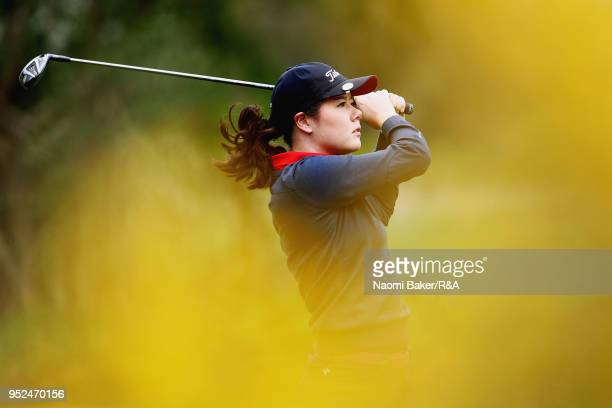 Rebekka Koch of Switzerland tees off the 2nd hole during the second round of the Girls' U16 Open Championship at Fulford Golf Club on April 28 2018...