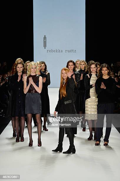 Rebekka Ruetz and models walk the runway after the Rebekka Ruetz show during MercedesBenz Fashion Week Autumn/Winter 2014/15 at Brandenburg Gate on...
