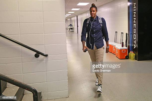 Rebekkah Brunson of the Minnesota Lynx arrives before Game One of the WNBA Western Conference Finals against the Phoenix Mercury on September 24 2015...