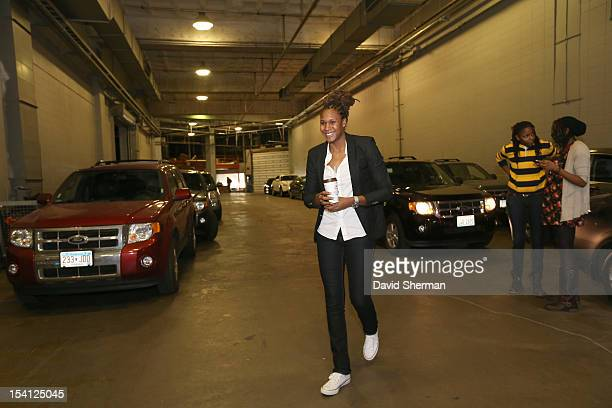 Rebekkah Brunson of the Minnesota Lynx arrives to Target Center before the 2012 WNBA Finals Game One against the Indiana Fever on October 14 2012 at...