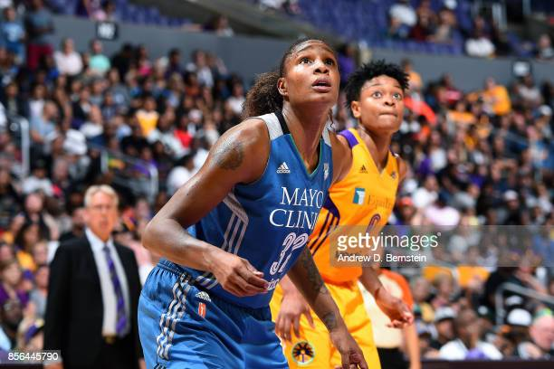 Rebekkah Brunson of the Minnesota Lynx boxes out against Alana Beard of the Los Angeles Sparks in Game Four of the 2017 WNBA Finals on October 1 2017...