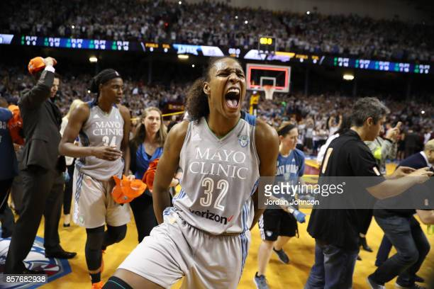 Rebekkah Brunson of the Minnesota Lynx celebrates a win against the Los Angeles Sparks in Game 5 of the 2017 WNBA Finals on October 4 2017 in...
