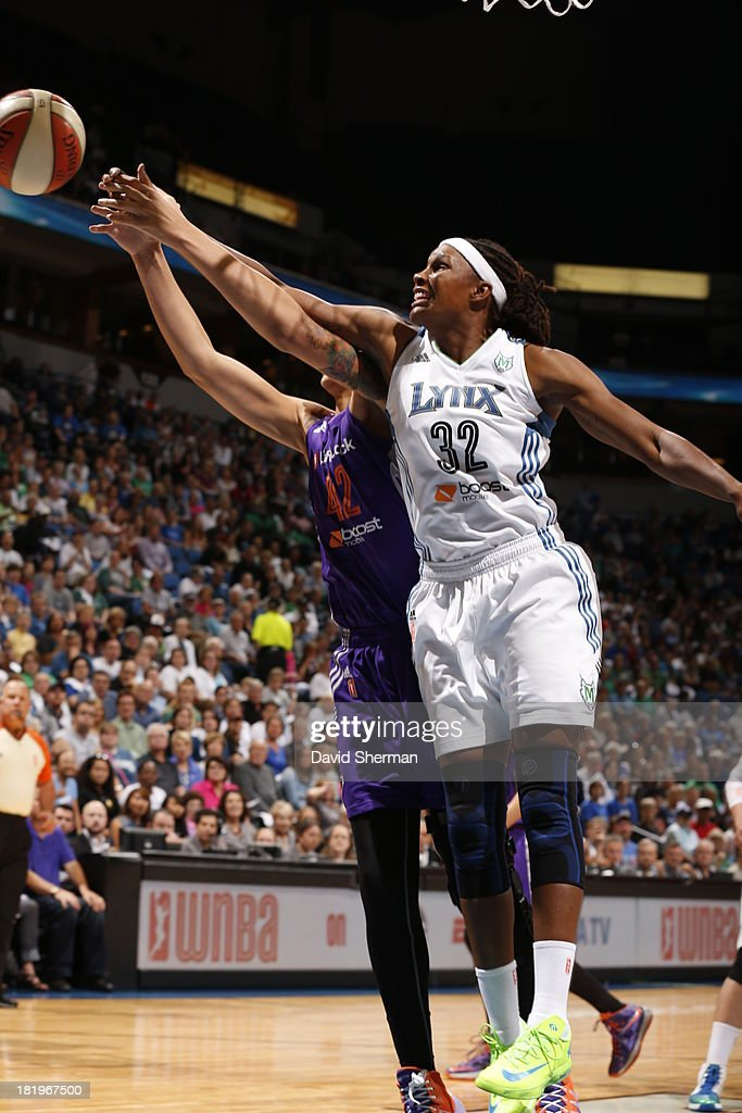 Rebekkah Brunson #32 of the Minnesota Lynx fights for the rebound against Brittney Griner #42 of the Phoenix Mercury during the WNBA Western Conference Finals Game 1 on September 26, 2013 at Target Center in Minneapolis, Minnesota.