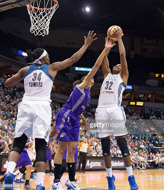 Rebekkah Brunson of the Minnesota Lynx grabs a rebound against the Phoenix Mercury during Game One of the WNBA Western Conference Finals on September...