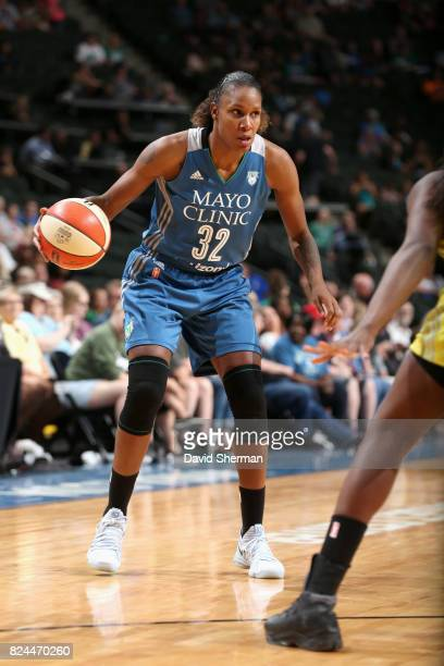 Rebekkah Brunson of the Minnesota Lynx handles the ball against the Seattle Storm on July 30 2017 at Xcel Energy Center in St Paul Minnesota NOTE TO...