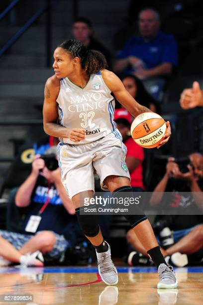 Rebekkah Brunson of the Minnesota Lynx handles the ball during the game against the Atlanta Dream during at WNBA game on August 8 2017 at Hank...