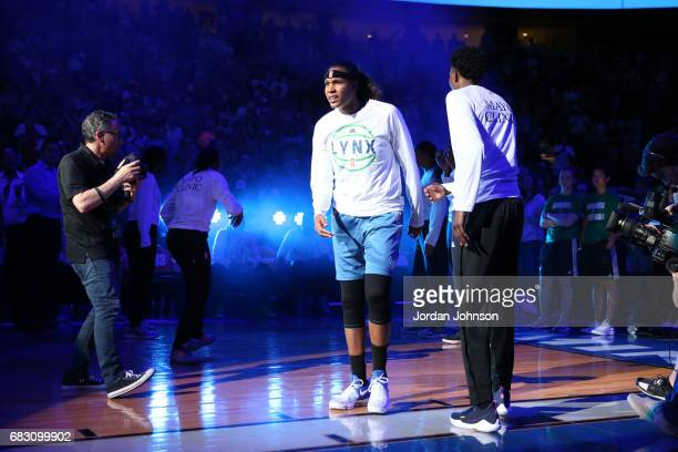 Rebekkah Brunson of the Minnesota Lynx is introduced before a game against the Chicago Sky on May 14 2017 at Xcel Energy Center in St Paul Minnesota...